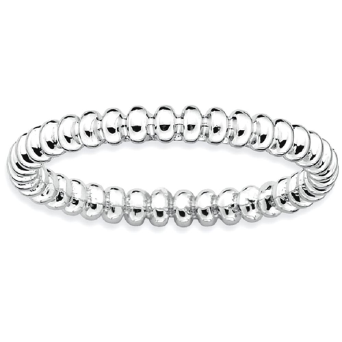 IceCarats 925 Sterling Silver Beaded Band Ring Size 6.00 Stackable Fancy