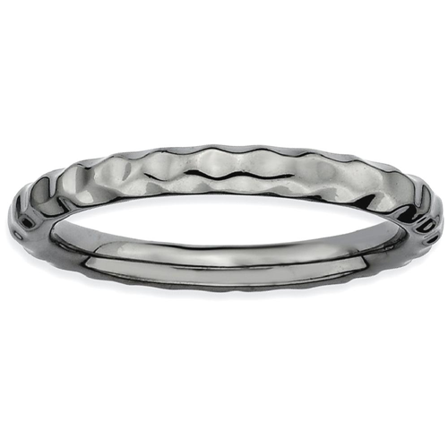 IceCarats 925 Sterling Silver Black Plated Hammered Band Ring Size 9.00 Stackable Textured