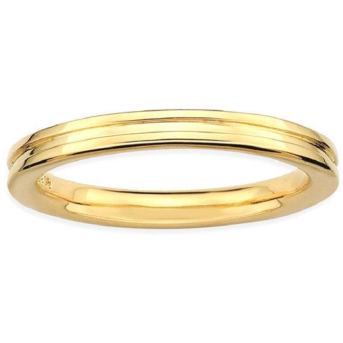 IceCarats 925 Sterling Silver Gold Plated Grooved Band Ring Size 6.00 Stackable Fancy