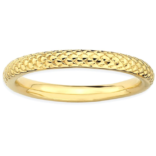 IceCarats 925 Sterling Silver Gold Plated Cable Band Ring Size 10.00 Stackable Fancy
