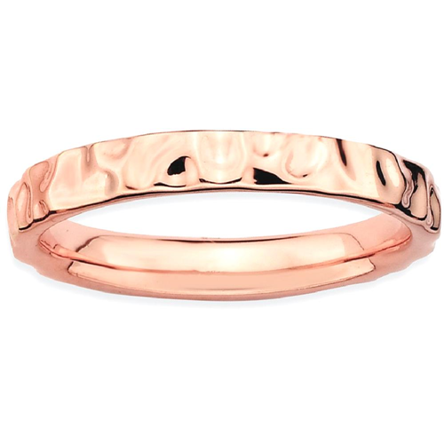 IceCarats 925 Sterling Silver Pink Plated Band Ring Size 7.00 Stackable Textured
