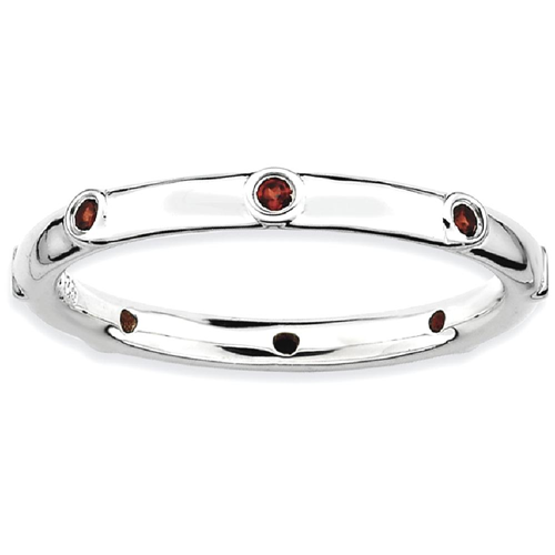 IceCarats 925 Sterling Silver Red Garnet Band Ring Size 7.00 Stone Stackable Gemstone Birthstone January