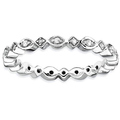 IceCarats 925 Sterling Silver Diamond Band Ring Size 9.00 Stackable Classic