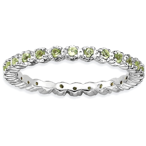 IceCarats 925 Sterling Silver Green Peridot Band Ring Size 8.00 Stone Stackable Gemstone Birthstone August