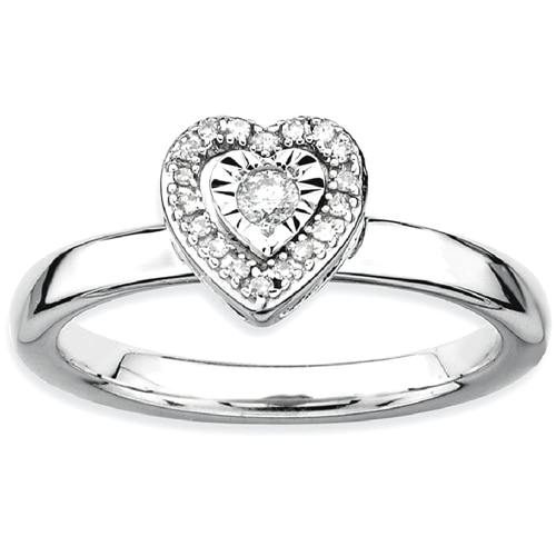 IceCarats 925 Sterling Silver Heart Diamond Band Ring Size 8.00 Love Stackable Fancy