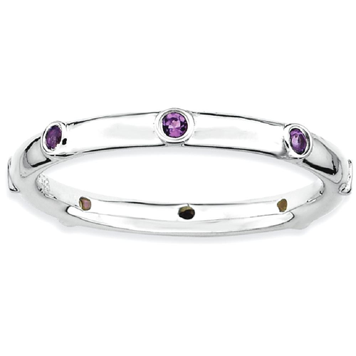 IceCarats 925 Sterling Silver Purple Amethyst Band Ring Size 8.00 Stone Stackable Gemstone Birthstone February