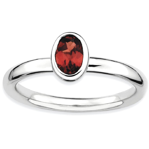 IceCarats 925 Sterling Silver Oval Red Garnet Band Ring Size 9.00 Stone Stackable Gemstone Birthstone January
