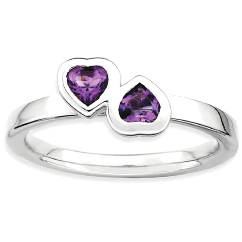 IceCarats 925 Sterling Silver Purple Amethyst Double Heart Band Ring Size 10.00 Love Stackable Gemstone Birthstone February