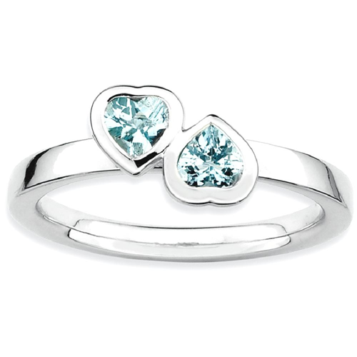 IceCarats 925 Sterling Silver Blue Aquamarine Double Heart Band Ring Size 6.00 Love Stackable Gemstone Birthstone March