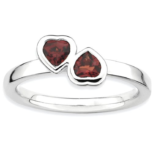 IceCarats 925 Sterling Silver Red Garnet Double Heart Band Ring Size 6.00 Love Stackable Gemstone Birthstone January