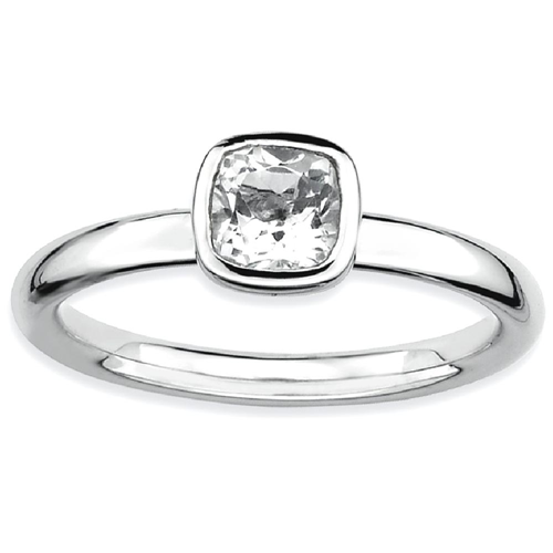 IceCarats 925 Sterling Silver Cushion Cut White Topaz Band Ring Size 7.00 Stone Stackable Gemstone Birthstone April Az