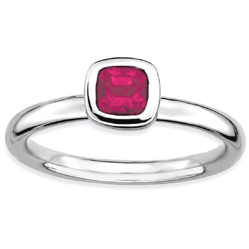 IceCarats 925 Sterling Silver Cushion Cut Created Red Ruby Band Ring Size 5.00 Stone Stackable Gemstone Birthstone July