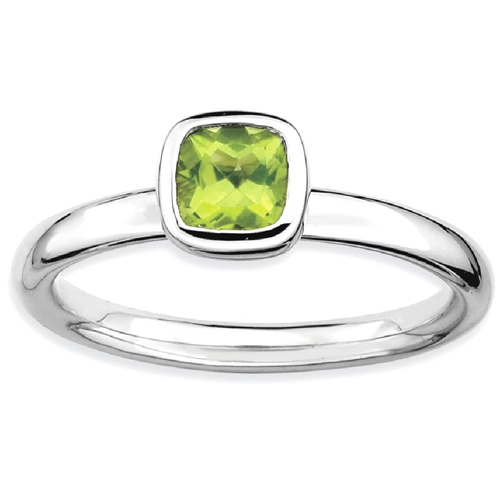 IceCarats 925 Sterling Silver Cushion Cut Green Peridot Band Ring Size 8.00 Stone Stackable Gemstone Birthstone August