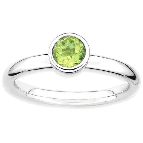 IceCarats 925 Sterling Silver Low 5mm Round Green Peridot Band Ring Size 9.00 Stone Stackable Gemstone Birthstone August