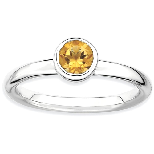 IceCarats 925 Sterling Silver Low 5mm Round Yellow Citrine Band Ring Size 9.00 Stone Stackable Gemstone Birthstone November