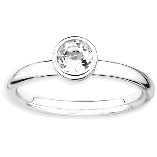 IceCarats 925 Sterling Silver Low 5mm Round White Topaz Band Ring Size 8.00 Stone Stackable Gemstone Birthstone April Az