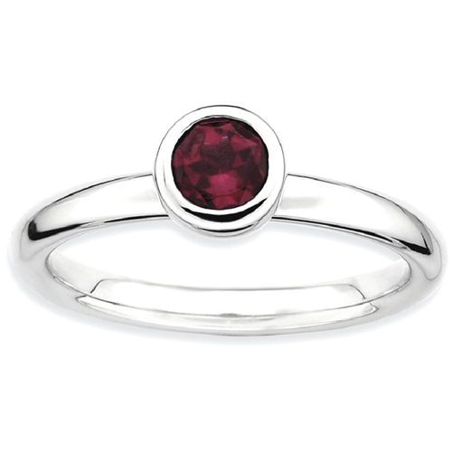 IceCarats 925 Sterling Silver Low 5mm Round Rhodolite Red Garnet Band Ring Size 8.00 Stone Stackable Gemstone Birthstone June