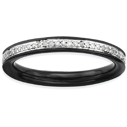 IceCarats 925 Sterling Silver Diamonds Black Plated Band Ring Size 8.00 Stackable Classic