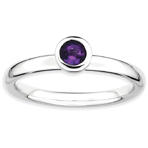 IceCarats 925 Sterling Silver Low 4mm Round Purple Amethyst Band Ring Size 6.00 Stone Stackable Gemstone Birthstone February