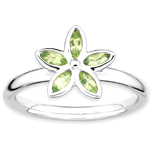 IceCarats 925 Sterling Silver Green Peridot Flower Band Ring Size 6.00 Stone Stackable Gemstone Birthstone August