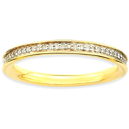 IceCarats 925 Sterling Silver Diamonds Gold Plated Band Ring Size 10.00 Stackable Classic