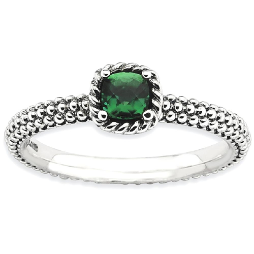 IceCarats 925 Sterling Silver Cr.emerald Band Ring Size 5.00 Stone Stackable Gemstone Birthstone May Created Emerald