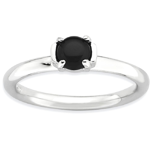 IceCarats 925 Sterling Silver Black Agate Band Ring Size 8.00 Stone Stackable Gemstone