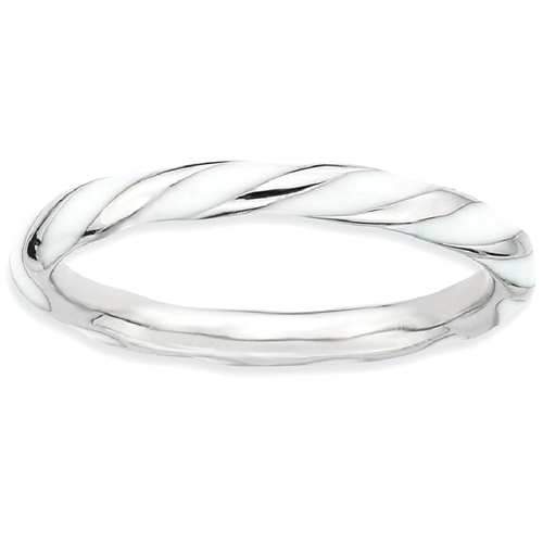 IceCarats 925 Sterling Silver Twisted White Enameled Band Ring Size 7.00 Stackable Ed