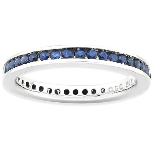 IceCarats 925 Sterling Silver Created Sapphire Band Ring Size 8.00 Stone Stackable Gemstone Birthstone September