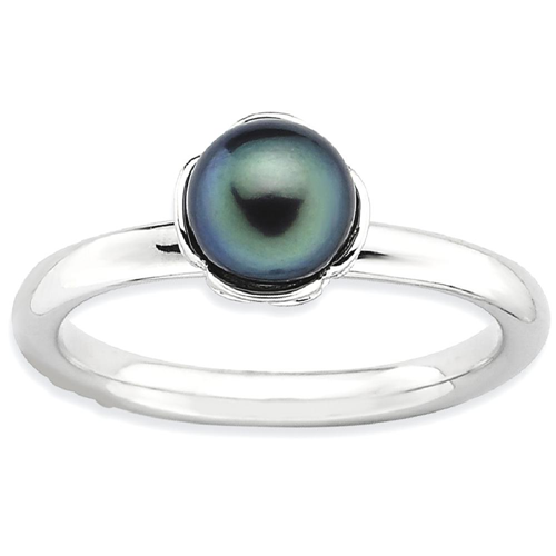 IceCarats 925 Sterling Silver Stack Exp. Black Freshwater Cultured Pearl Band Ring Size 8.00 Stackable Gemstone