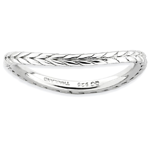 IceCarats 925 Sterling Silver Plate Wave Band Ring Size 6.00 Stackable Curved
