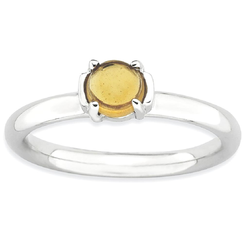 IceCarats 925 Sterling Silver Yellow Citrine Band Ring Size 5.00 Stone Stackable Gemstone Birthstone November