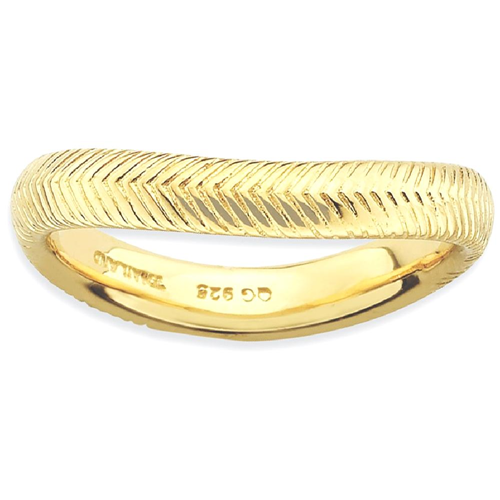 IceCarats 925 Sterling Silver Gold Plate Wave Band Ring Size 5.00 Stackable Curved