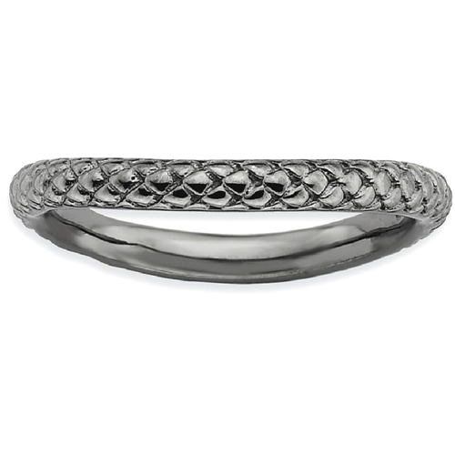 IceCarats 925 Sterling Silver Black Plate Wave Band Ring Size 7.00 Stackable Curved