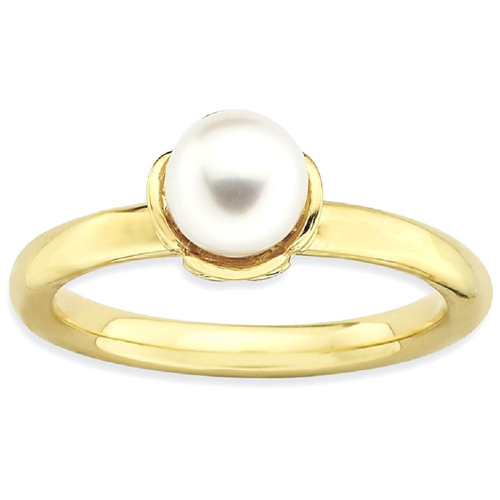 IceCarats 925 Sterling Silver Stack Exp. White Freshwater Cultured Pearl Gold Plated Band Ring Size 7.00 Stackable Gemstone