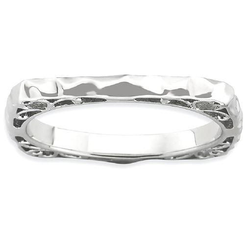 IceCarats 925 Sterling Silver Plate Square Band Ring Size 8.00 Stackable