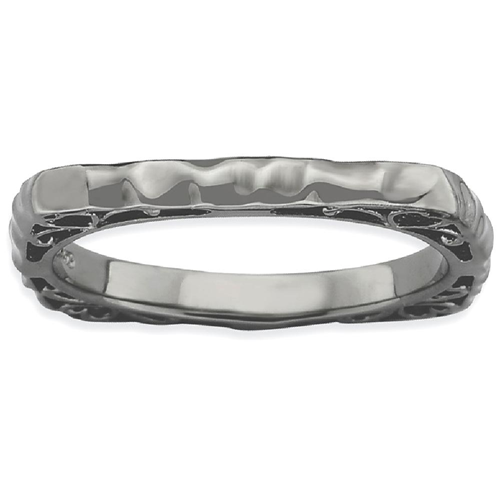 IceCarats 925 Sterling Silver Black Plate Square Band Ring Size 7.00 Stackable