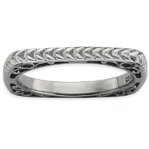 IceCarats 925 Sterling Silver Black Plate Square Band Ring Size 6.00 Stackable