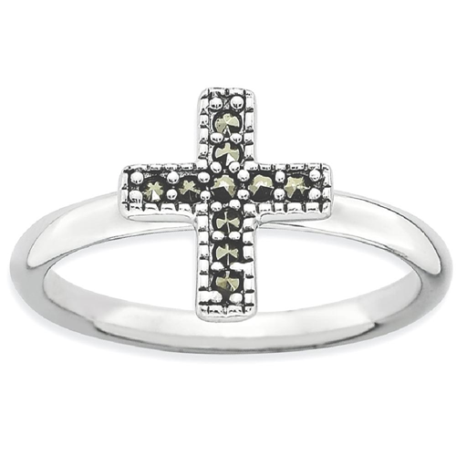 IceCarats 925 Sterling Silver Marcasite Cross Religious Band Ring Size 10.00 Stackable Gemstone