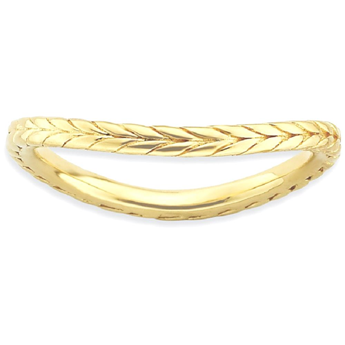 IceCarats 925 Sterling Silver Gold Plated Wave Band Ring Size 6.00 Stackable Curved