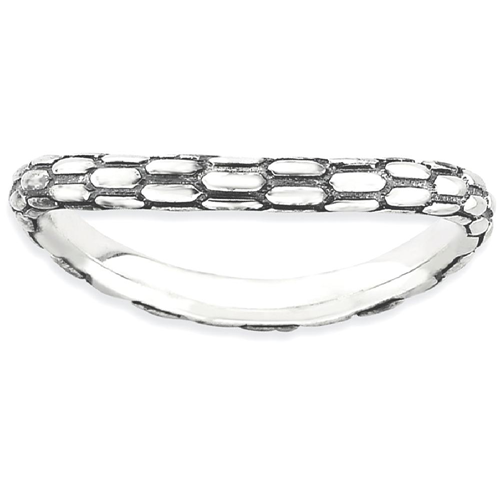 IceCarats 925 Sterling Silver Wave Band Ring Size 9.00 Stackable Curved