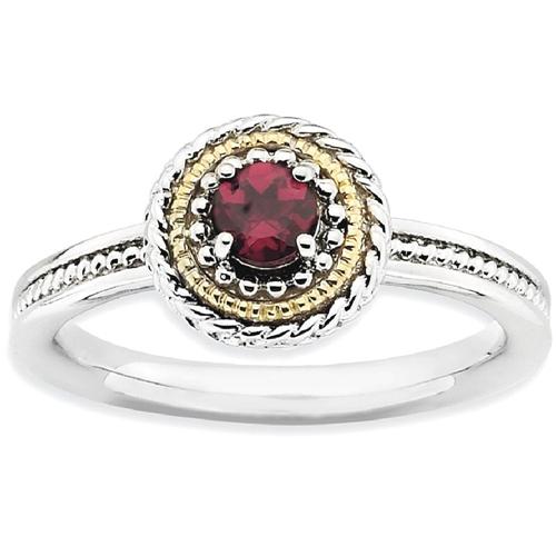 IceCarats 925 Sterling Silver 14k Rhodolite Red Garnet Band Ring Size 5.00 Stackable Gemstone Birthstone June