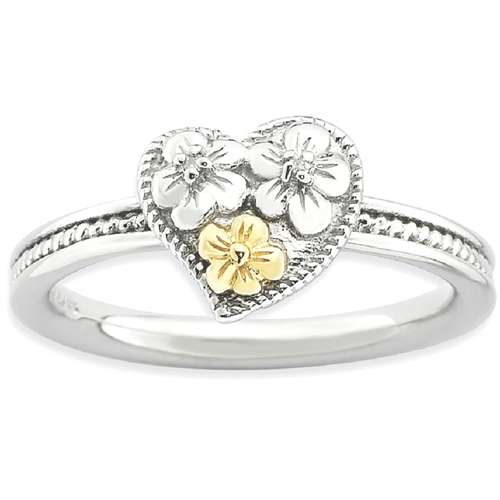 IceCarats 925 Sterling Silver 14k Diamond Heart Band Ring Size 5.00 Love Stackable Fancy