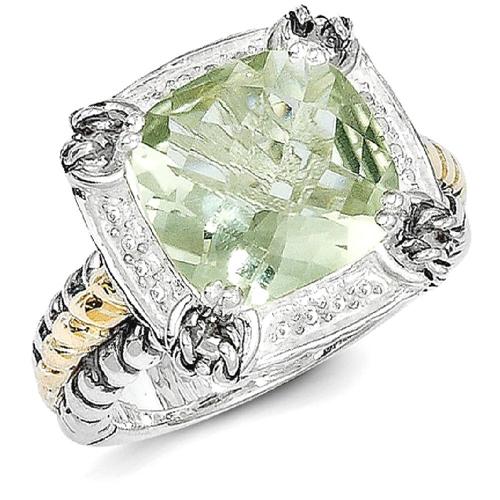 IceCarats 925 Sterling Silver 14k Green Quartz Band Ring Size 8.00 Stone Gemstone