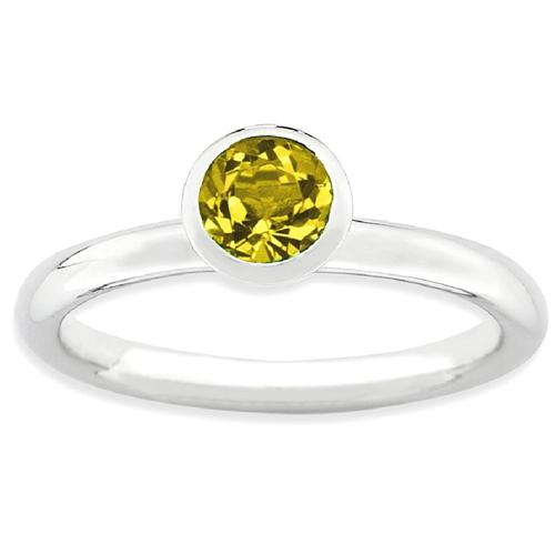 IceCarats 925 Sterling Silver High 5mm November Swarovski Band Ring Size 6.00 Stackable Birthstone Gemstone Citrine