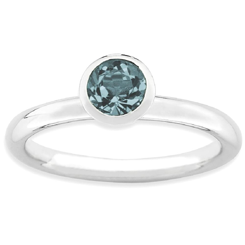 IceCarats 925 Sterling Silver High 5mm December Swarovski Band Ring Size 8.00 Stackable Birthstone Gemstone Blue Az