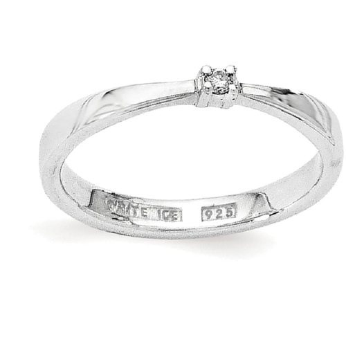 IceCarats 925 Sterling Silver .03ct. Diamond Band Ring Size 6.00
