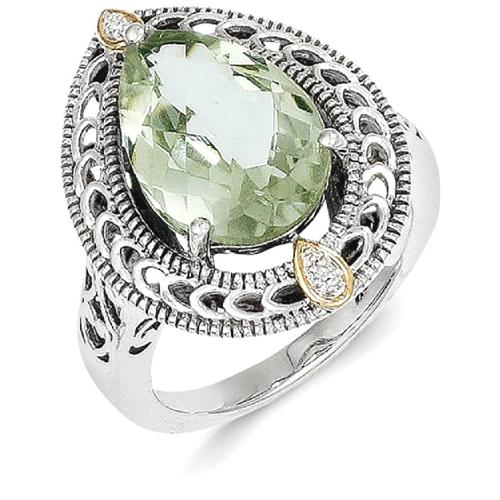 IceCarats 925 Sterling Silver 14k Diamond Green Quartz Band Ring Size 6.00 Stone Gemstone