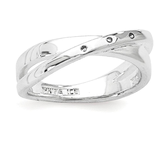 IceCarats 925 Sterling Silver .03ct. Diamond Crossover Band Ring Size 8.00