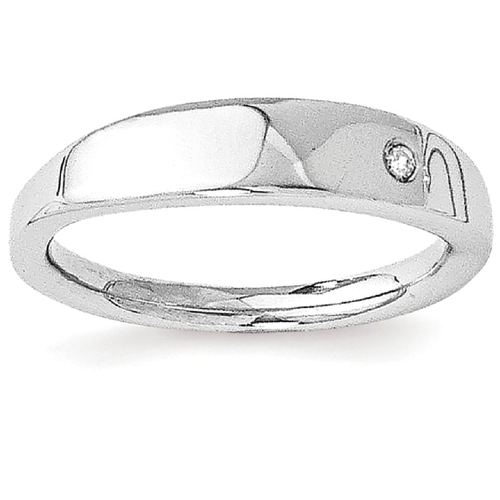 IceCarats 925 Sterling Silver .02ct. Diamond Band Ring Size 8.00